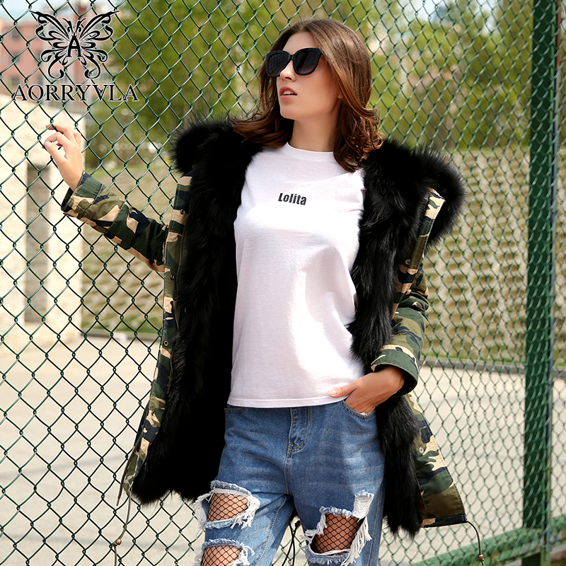 AORRYVLA New Winter Women Camouflage Parka Fur Long Luxurious Raccoon Fur Collar Hooded With Fox Fur Liner Thick Warm Jacket 2017 winter new clothes to overcome the coat of women in the long reed rabbit hair fur fur coat fox raccoon fur collar