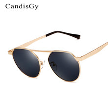 Nueva Ronda Moda Flat top gafas de Sol de Espejo Mujeres Hombres Diseñador de la Marca Señora de la Mujer gafas de Sol UV400 Marco de Metal Pequeño Tamaño