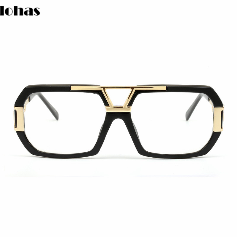 newest stylish brand square frame glasses optical male large clear mens designer eyeglass frames black men gold uv oculos