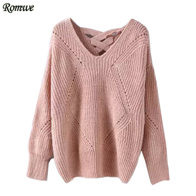 ROMWE Women Sweaters and Knitwear 2016 Women Autumn Fashion Pink Geometric Pattern V Neck Long Sleeve Hollow Knit Sweater