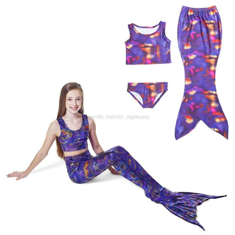 3 ks / sada mořská panna rybí ocas děti děti bikiny plavání nosit krásné sexy holčičky rybinové šaty plavky