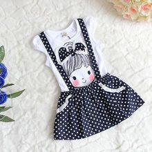 Baby Girls Short Sleeve Dress Girls Kids Polka Dot Dress Clothes Overalls Dress