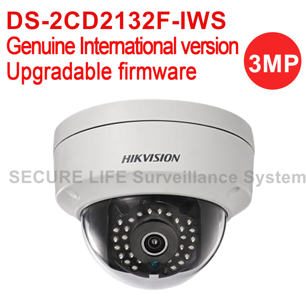 Hikvision DS-2CD2132F-IWS International version 3MP wireless CCTV camera POE, mini wifi dome IP security camera H.264 hikvision ds 2cd2442fwd iw wifi camera 4mp ir cube wireless ip camera poe ip camera baby monitor wireless security cam