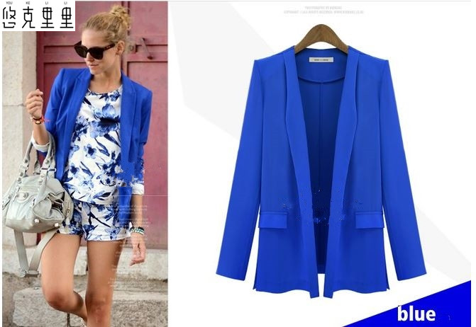 free shipping Europe and the United States in the autumn of 2017 with new long-sleeve jackets fashion candy color small suit