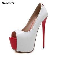Sexy Ferse 16 cm Schuhe Frauen Pumpen elfenbeinweiß hohe heels rot plattform hochzeit brautschuhe damen abend stöckelschuhe frau
