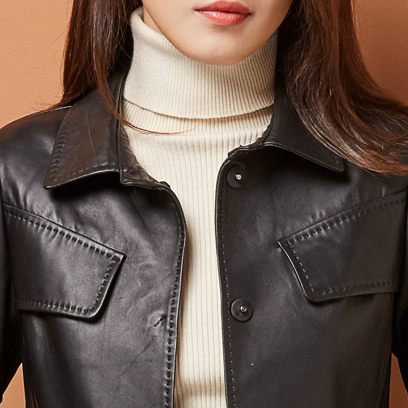 Pour Véritable Cuir Printemps De Automne Veste Manteaux F11212 Long Slim Mouton Vestes Femmes Peau Noir Femelle Tranchée Nouveau 2018 En Manteau xgPrxv