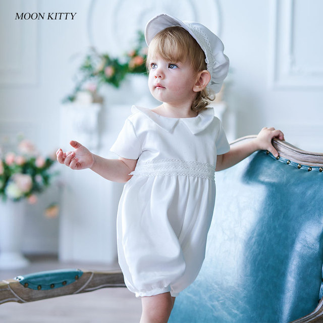 498d417c08a8 Moon Kitty Infant Baby Romper with Hat 2pcs Baptism Outfits Christening set  with pointed collar short-sleeve romper