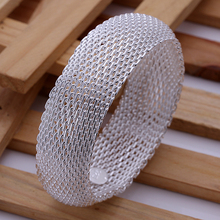 2015 new arrived 925 sterling silver jewelry from india fashion complete full wide mesh bangle cuff bracelet  women promotion