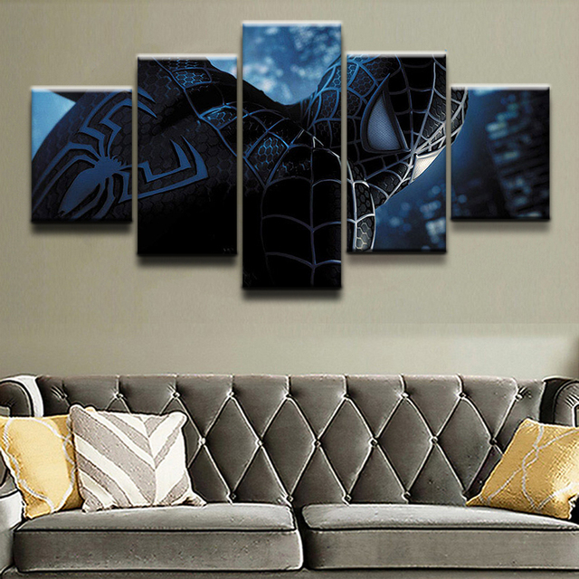 5 Piece Canvas Print Comics Spider-Man Poster Canvas Painting Picture Home Decor For Boys Room Wall Art Wall Decor Frame Picture