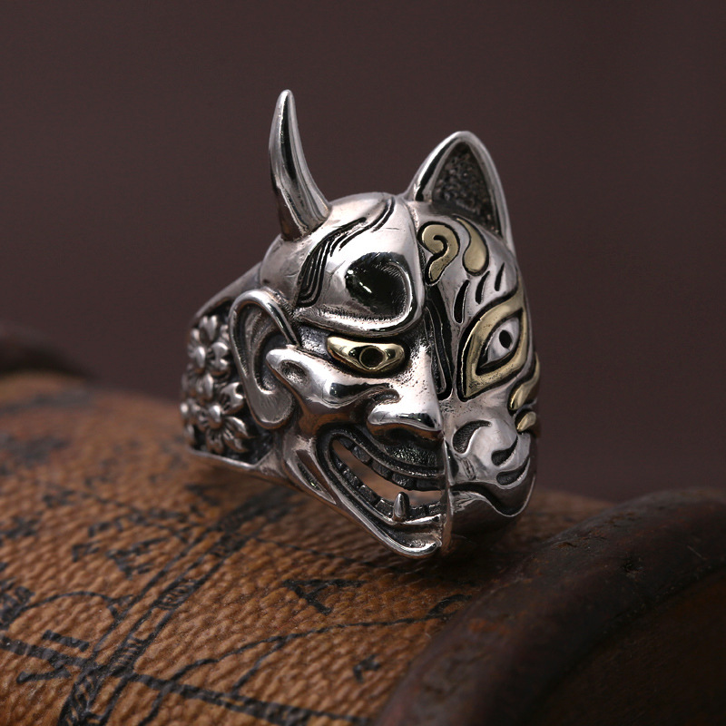 S925 silver jewelry silver ring mask Japan Prajna personality male retro silver finger ring silver s925 pure silver natural pearl retro personality