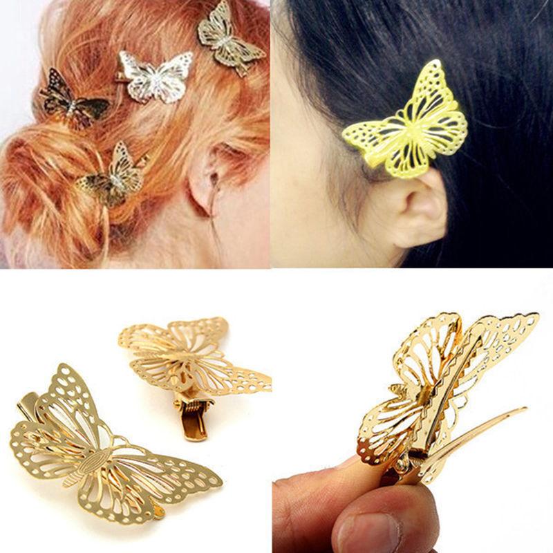 2PCS TEROKK Women Fashion Golden Butterfly Hair Clip Headband Hair Accessories Headpiece Headwear