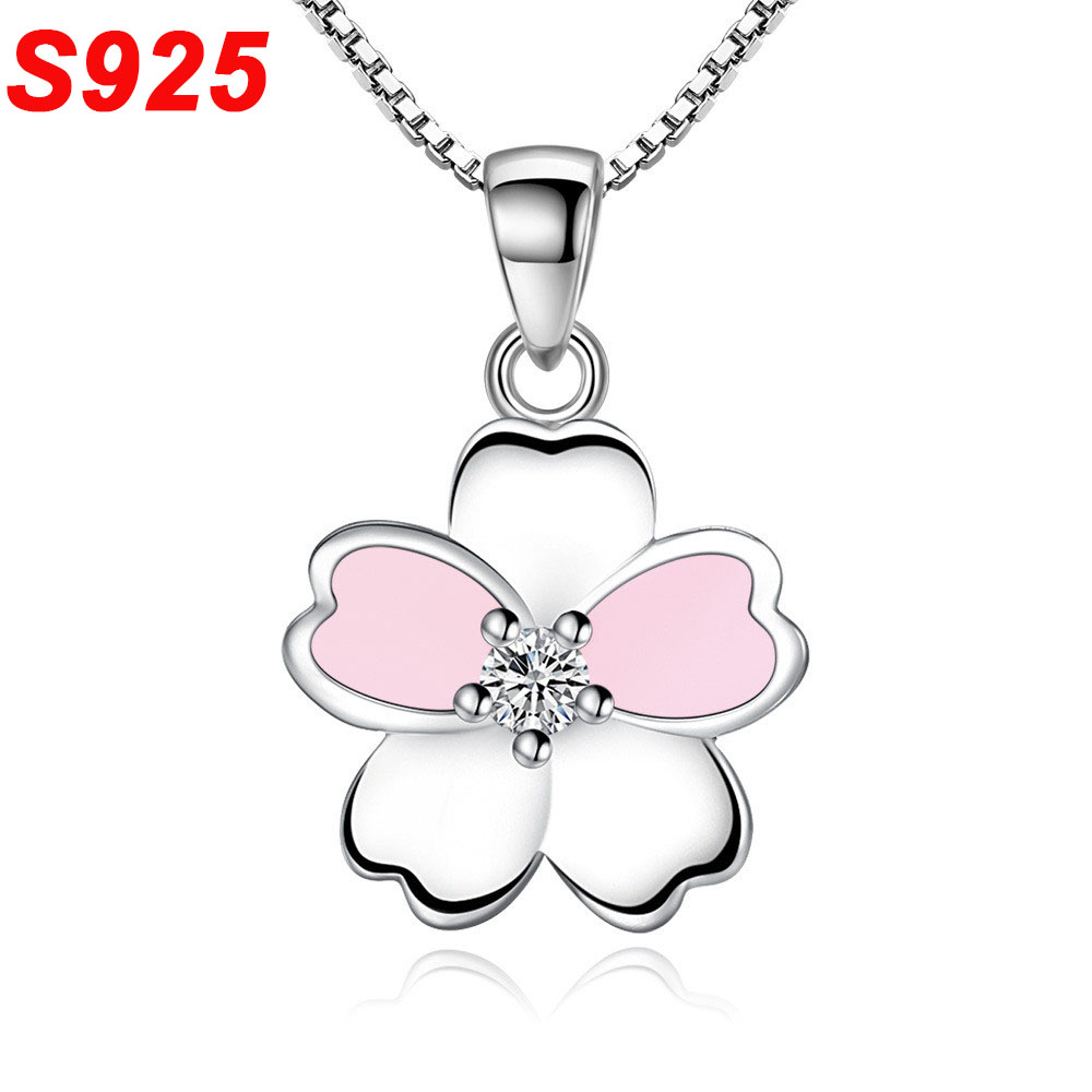 925 Sterling Silver Crystal Small Cherry Flower Pendant Necklace For Women Girl