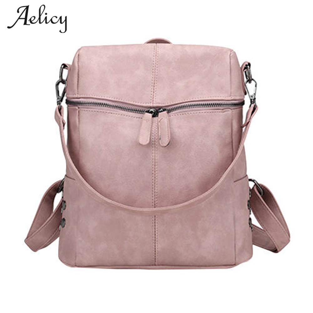 Aelicy Simple Style Backpack Women PU Leather Backpacks For Teenage Girls School Bags Fashion Vintage Solid Shoulder Bag D35 simple preppy style backpack women pu leather backpacks for teenage girls school bags fashion vintage solid shoulder bag black