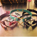 Harajuku Cute Punk Rock Cat Collar Handmade Real Leather Thin Straps Heart Choker Necklace