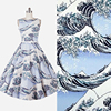 100 Cotton Sateen Stretch Vintage Wave Style Fabric For DIY Sewing Women Clothing Wedding Dress Upholstery
