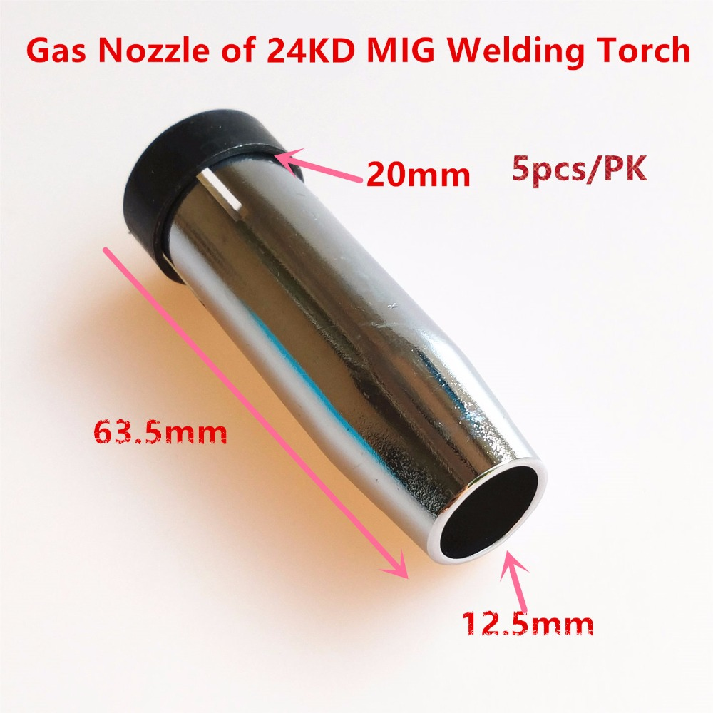 24KD Gas Nozzle 5pcs MIG Welding Torch Gas Nozzle Contact Tip MIG Gun Welding Nozzle