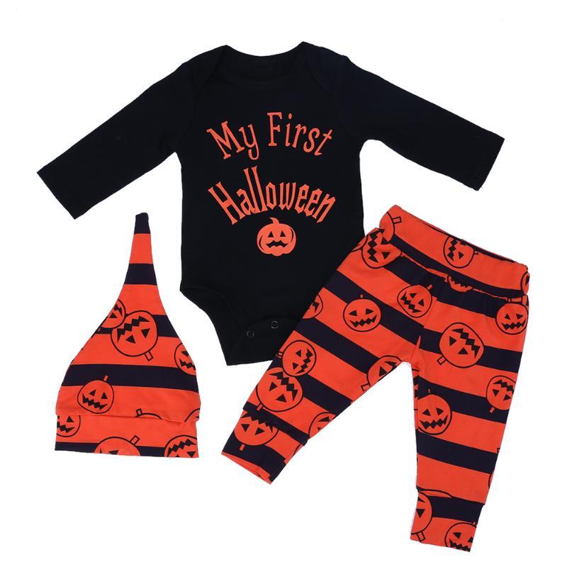 3pcs/set Baby Halloween Clothes Toddler Kids Long Sleeve Bodysuit + Pumpkin Lantern Print Stripe Pants + Hat Outfits