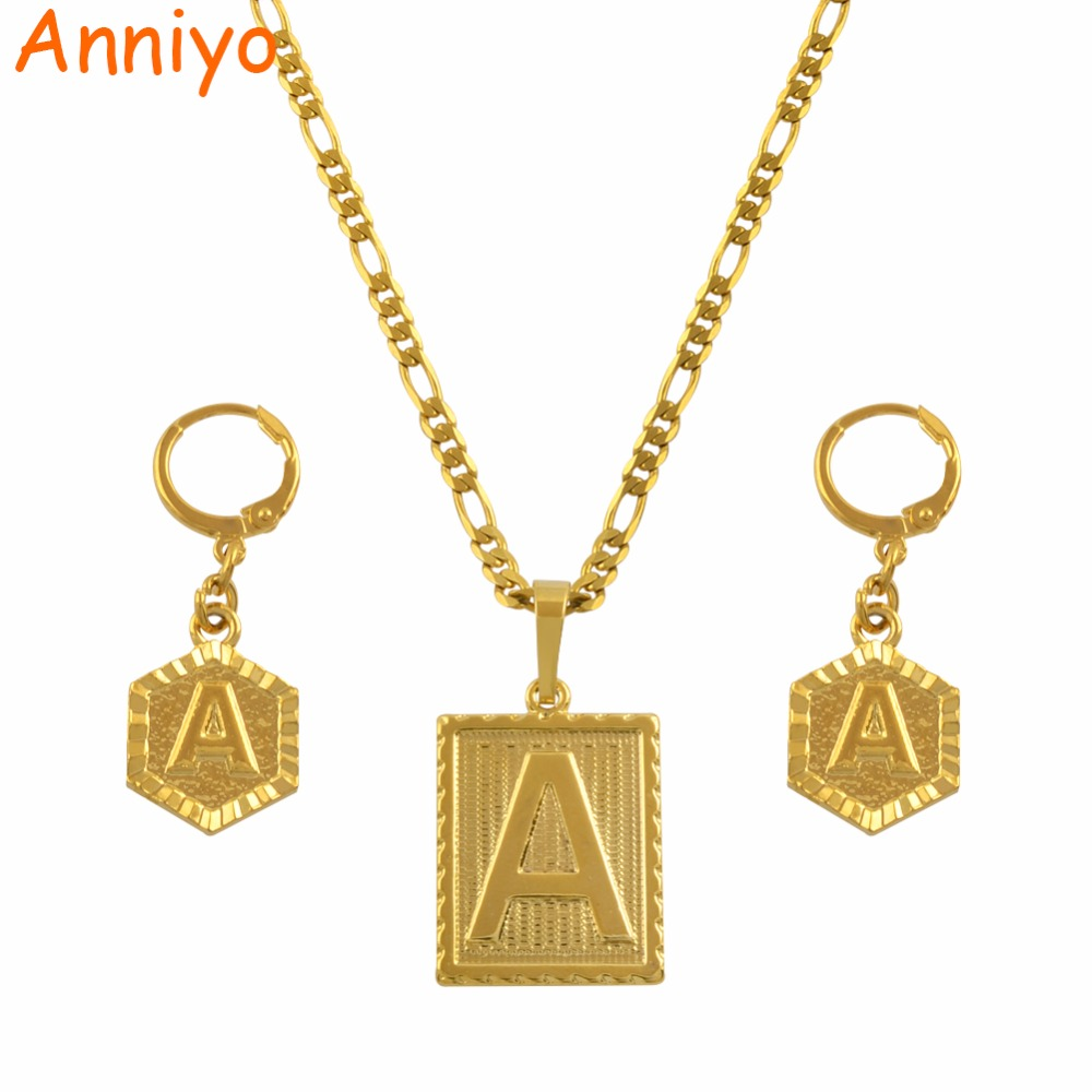Anniyo A-Z 26 Letters Necklaces Sets Gold Color Initial Alphabet Pendant Letter Jewelry Accessories #104006SSAnniyo A-Z 26 Letters Necklaces Sets Gold Color Initial Alphabet Pendant Letter Jewelry Accessories #104006SS
