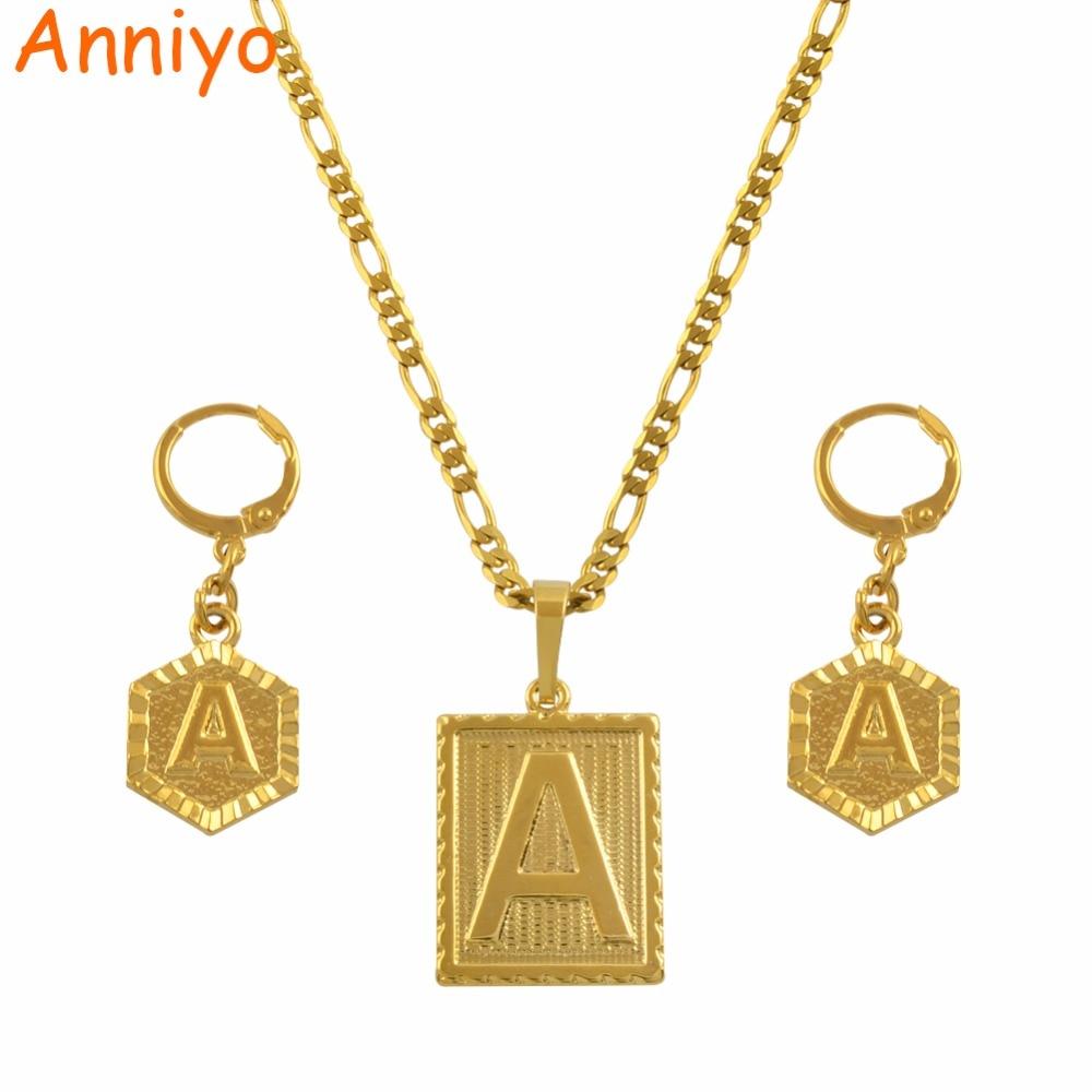 Anniyo A-Z 26 Letters Necklaces Sets Gold Color Initial Alphabet Pendant Letter Jewelry Accessories #104006SSAnniyo A-Z 26 Letters Necklaces Sets Gold Color Initial Alphabet Pendant Letter Jewelry Accessories #104006SS
