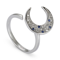 New Pattern 925 Sterling Silver Rings Blue And White Cubic Zirconia SS K231 Romantic Style Women
