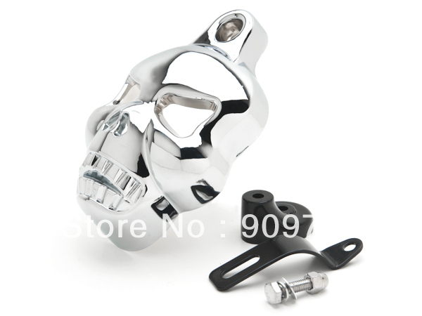 Free Shipping Chrome SKULL HORN COVER For Harley Sportster Dyna Softail Glide Ultra Road King Classic