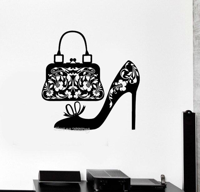 Chaussures Femmes Sac À Main Sticker Mode Shopping Amovible Vinyle Stickers  Muraux Pour Porte Salle Stickers 3a1480b140dd