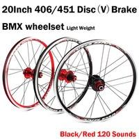 20 인치 디스크 (v) 브레이크 406/451 o.l.d. 전면 100mm 후면 135mm 클린 처 폴드 자전거 bmx 휠셋 휠 ud 매트