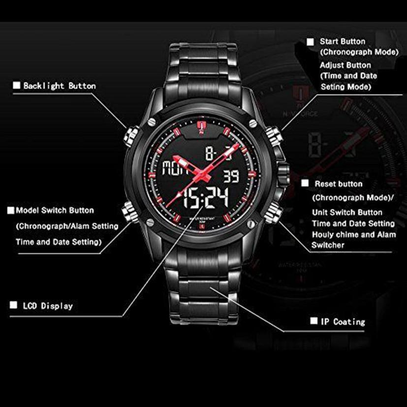 Stainless Steel Mens Sports Watches  with Dual-display Multi-function  my11 mance mens watches top brand luxury quality military sports men s dual display multi function stainless steel mens watches