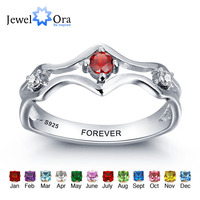 Personalized Engraved Names Birthstone Jewelry 925 Sterling Silver Custom Rings For Women Free Gift Box (JewelOra RI101963)