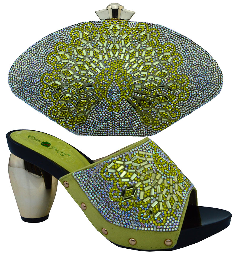 ФОТО 2016 New coming African Italian shoes and bags to match,yellow color shoes with bag set with rhinestones(Szie:38-43)  WTT1-28