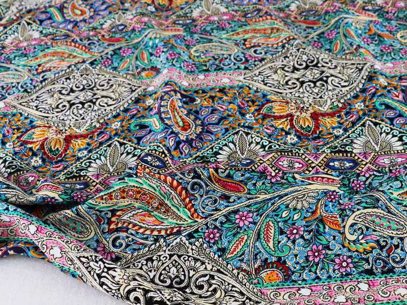 Tela de algodón con estampado étnico de Paisley, tela de popelina de rayón cosida para vestido bohemio