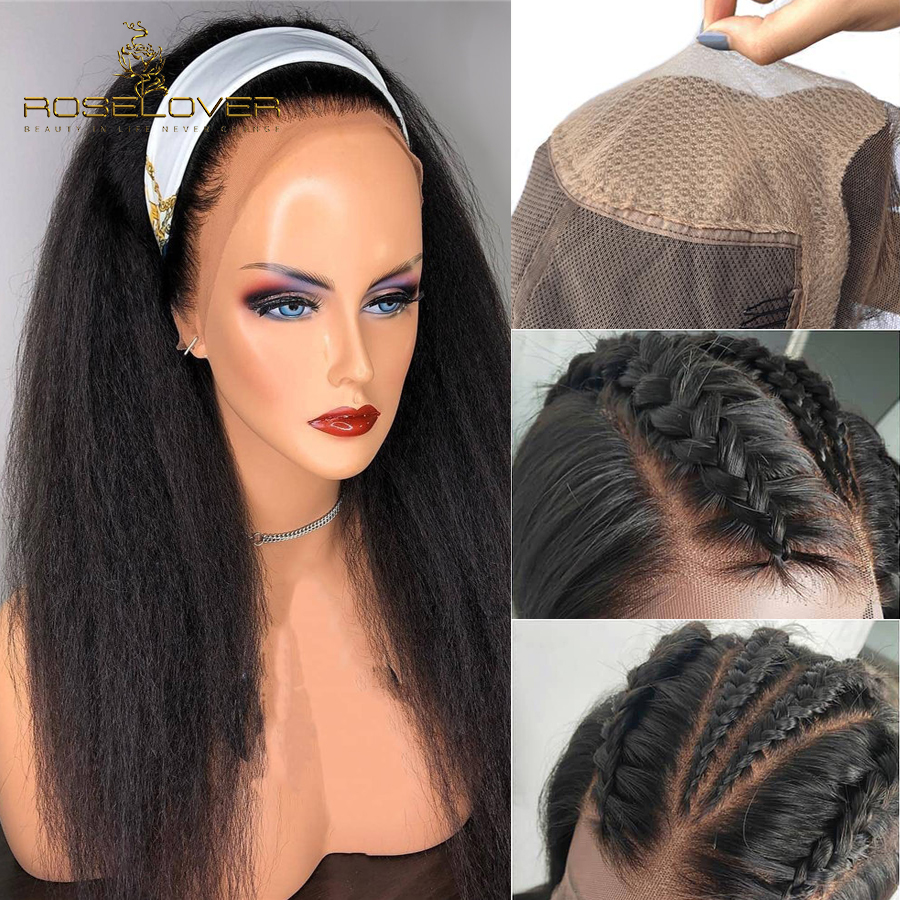Fake Scalp Wig Kinky Straight 13*6 Lace Front Human Hair Wigs Women Black Glueless Lace Front Wig Brazilian Remy Bleached Knots