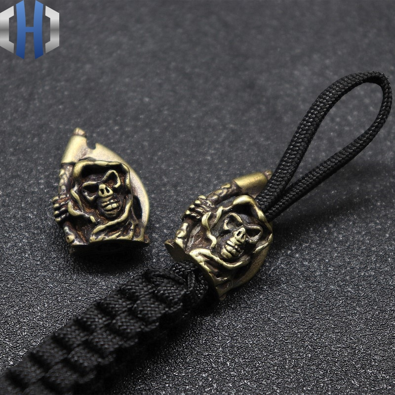 Brass Skull Knife Beads Punk Paracord Bracelet Accessories Survival DIY Copper Paracord Bead Death Scythe Knife Beads EDC in Key Chains from Jewelry Accessories