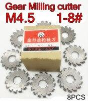 M4.5 Modulus PA20 graden NO.1-NO.8 8 stks/set HSS Versnelling frees Gear snijgereedschap Gratis verzending