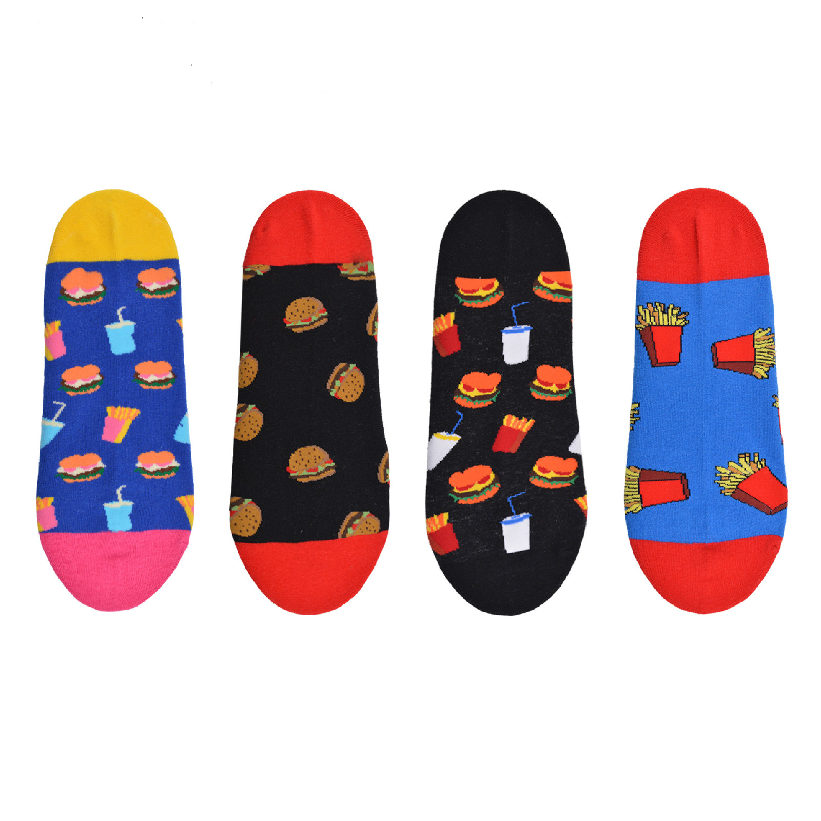 New Fashion Street Brand Beer Fries Burger Food Creative Element Cotton Breathable Mens Dress Socks Harajuku  Cotton  Men Socks