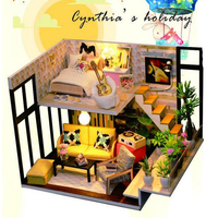 Doll House Educational Toys for Children Miniature Dollhouse Furniture DIY Flash Home As Birthday Gifts Decorations Wooden Model