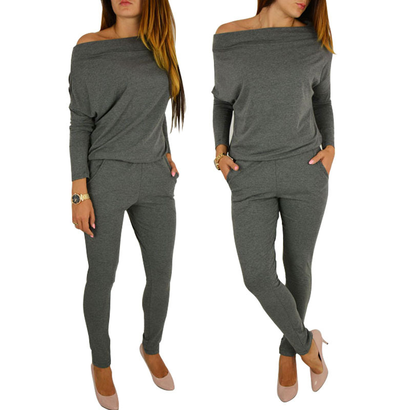 2018 autumn winter new sexy bodysuit off shoulder   jumpsuit   solid color long-sleeved trousers one-piece fashion casual overalls
