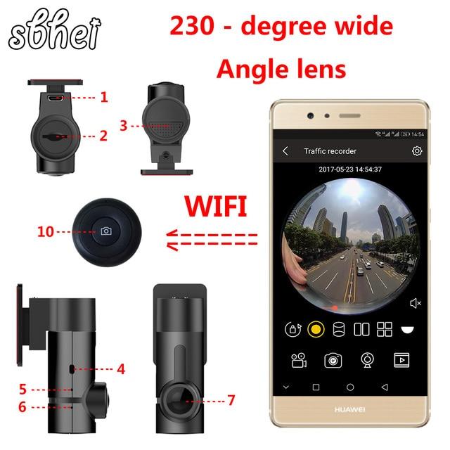 sbhei mini WiFi Car DVR 1080P 230 degree Night Vision Dash Cam Recorder Rotatable Lens Car Camera Wireless Snapshot Auto Camcord