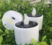 New Yellow Solar Power LED Candles Flameless Electronic Solar LED Tea Lights Lamp Plastic Solar Energy Candle for Outdoor Gifts