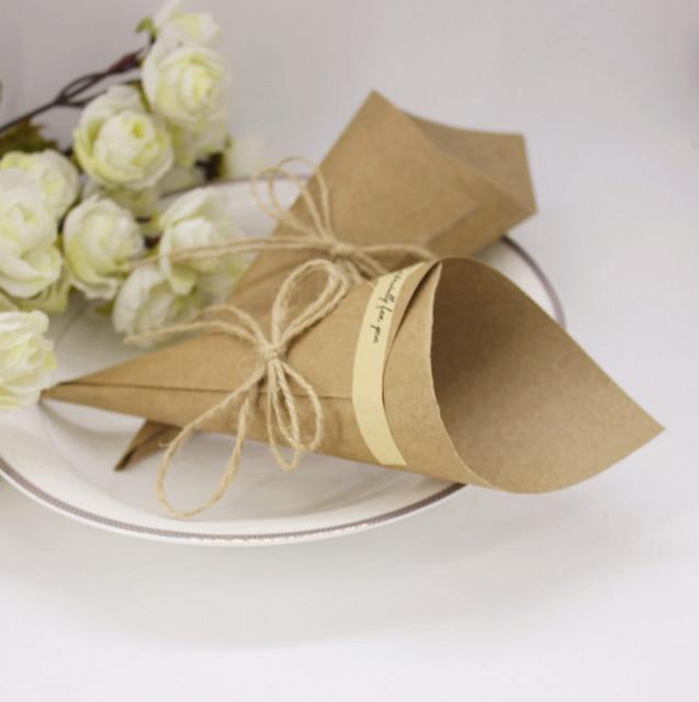 50 Pcs Brown Black Wedding Favors Kraft Paper Cones