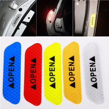 4pcs Car OPEN Reflective Waterproof Warning Stickers Night Safety Driving off the car to open door and avoid collision