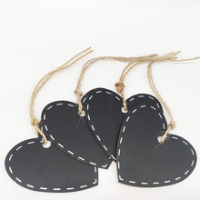 10pcs Mini Wooden Hanging Blackboard with String Heart Shape Chalkboard Luggage Label Message Board Hang Tags Office Supplies