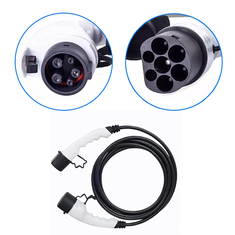 Type 1 To Type 2 Ev Adapter For EVSE Electric Vehicle Car 5M Cable 16A Female To Male Ev Charger Type 1 Iec62196