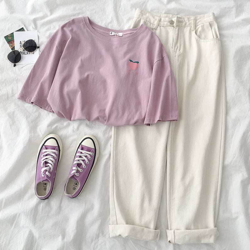 Summer Casual 2 Piece Set Women 2019 Casual Solid Pant Set Two Pieces Set Suit Purple Peach T-shirt + White Pants Matching Sets