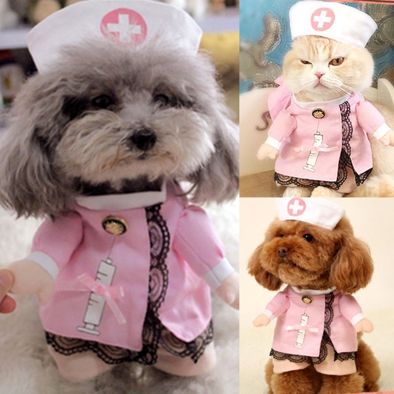 Pet Dog Cat Costume Suit Puppy Clothes Nurse Outfit For Halloween Christmas Gift