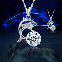Beauty Fashion Korean Female Dolphin Crystal Valentine's Day Gift for Girls Jewelry On Sale