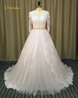 Loverxu Romantic V Neck Three Quarter A Line Wedding Dress 2016 Vintage Appliques Sashes Chapel Train