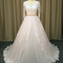 Loverxu Three Quarter Wedding Dress 2019 Chapel Train