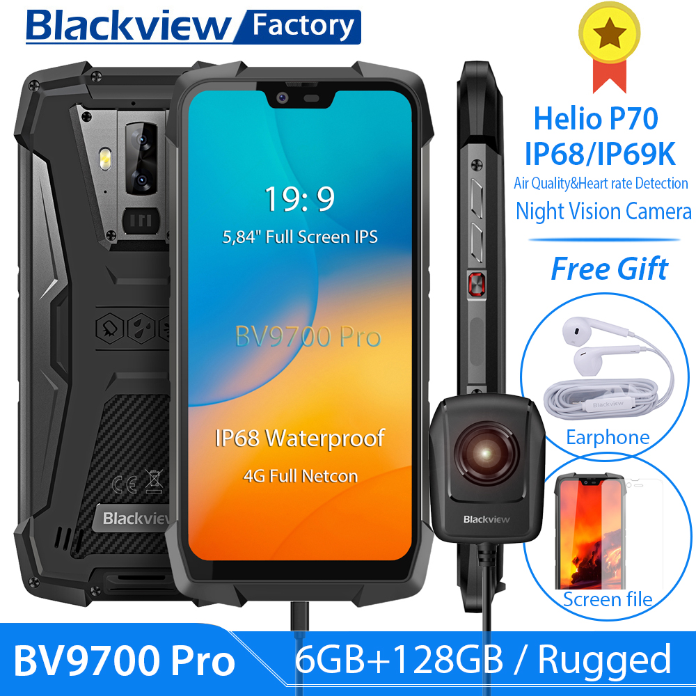 Blackview BV9700 Pro IP68 Waterproof Helio P70 6GB+128GB Smartphone 16MP Night Vision Camera Android 9.0 Rugged Mobile Phone