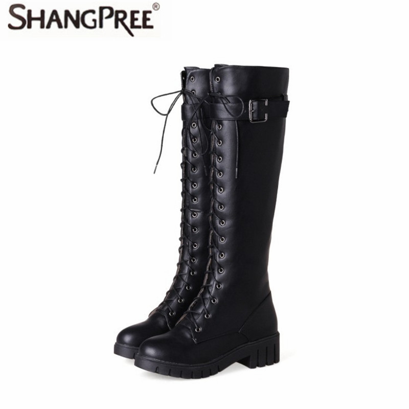 High quality women boots belt buckle Knee-High high heels pu genuine leather motorcycle boots women lace up boots winter shoes de la chance winter women boots high quality female genuine leather boots work